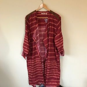 NEW Soft Surrounding Red Drape Front Long Cardigan